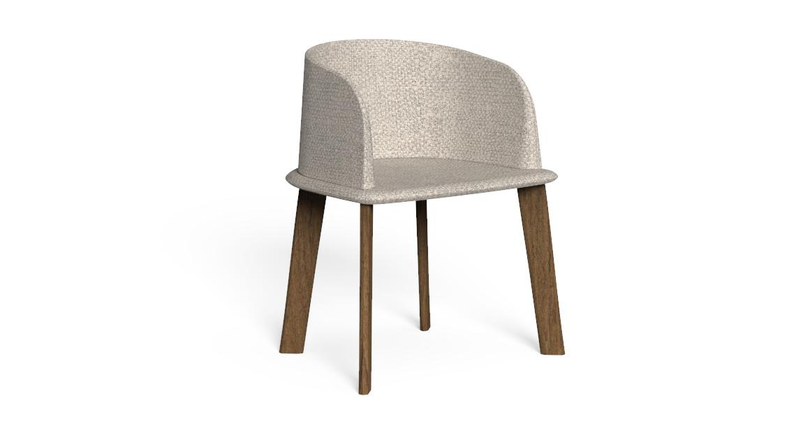 Cleo//Teak Padded tub chair